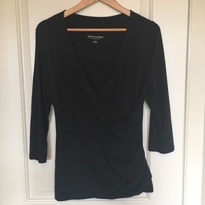 Soft Surroundings black wrap top sz L